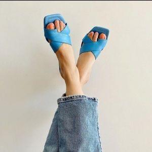 Zara square toe criss strap blue leather heel